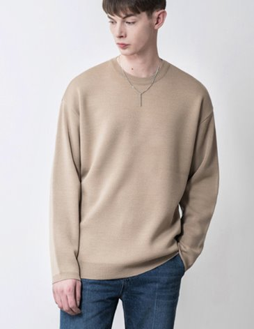 19SS PREMIER EDITION WOOL CASH ROUND KNIT [L.BEIGE]