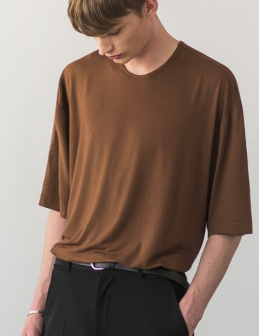 USUAL LOOSE FIT TENCEL T-SHIRT [BROWN]