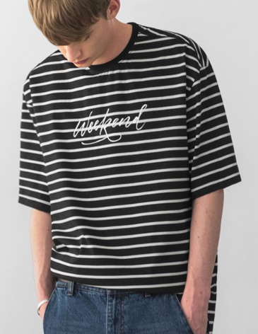 STRIPE WEEKEND T-SHIRT [BLACK]