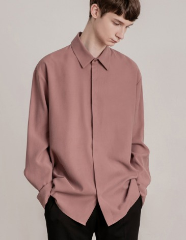 HIDDEN LOOSE-FIT TENCEL SHIRTS [SMOKE PINK]