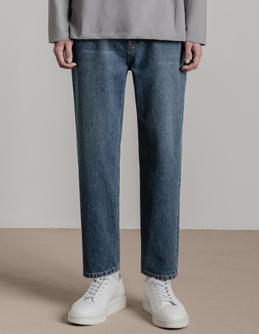 NEW-STRAIGHT DENIM PANTS [ASHED MIDDLE BLUE]