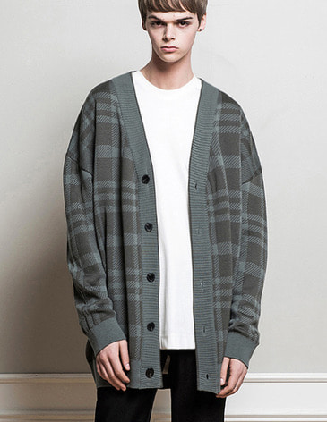 OVERSIZED CHECK CARDIGAN [MINT GREY]