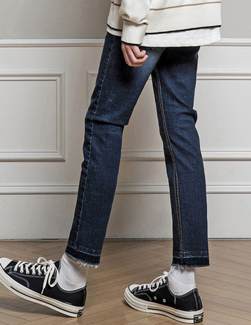 WASHED CUTTING CROP JEAN [MID BLUE]