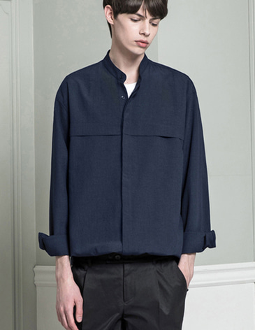 STAND COLLAR LINEN SHIRTS [NAVY]