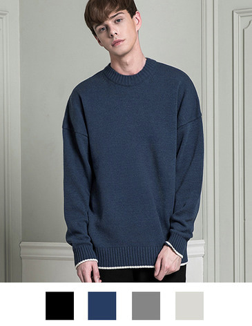 LAMBSWOOL OVERFIT ROUND KNIT