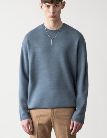 PREMIER EDITION WOOL CASH ROUND KNIT [SKY BLUE]