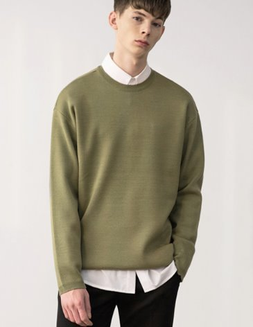 PREMIER EDITION WOOL CASH ROUND KNIT [L.OLIVE]