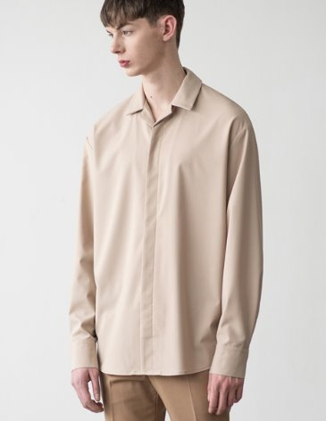 HIDDEN LOOSE FIT OPEN COLLAR SHIRT [BEIGE]