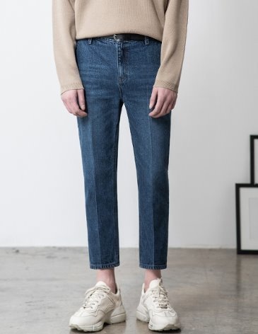 NEWTRO CROP DENIM PANTS [MIDDLE BLUE]