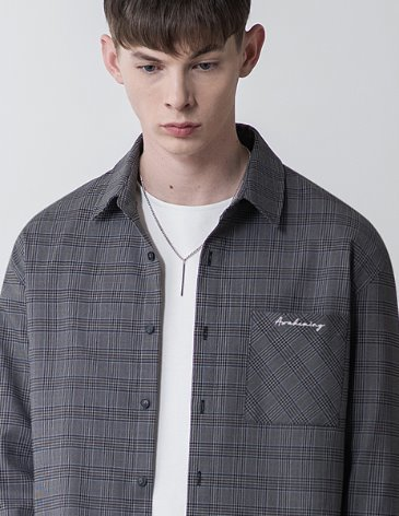 MINIMAL CHECK LETTERING POCKET SHIRT [CHARCOAL]