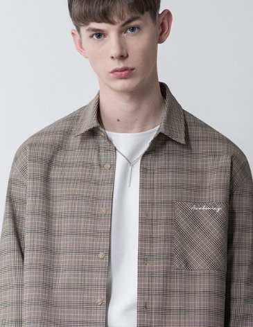 MINIMAL CHECK LETTERING POCKET SHIRT [BEIGE]