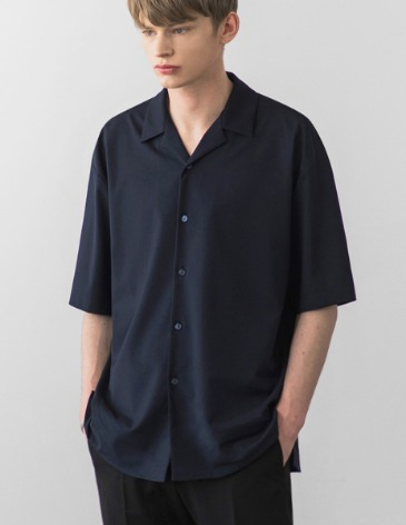 BREEZE OPEN COLLAR SHIRT [D.NAVY]