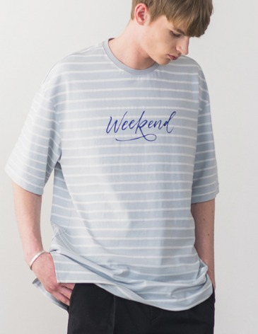 STRIPE WEEKEND T-SHIRT [L.GREY]