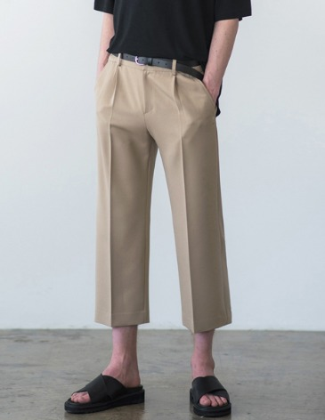 CONTEMPORARY WIDE CROP PANTS [BEIGE]
