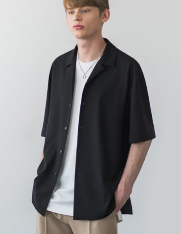 BREEZE OPEN COLLAR SHIRT [BLACK]