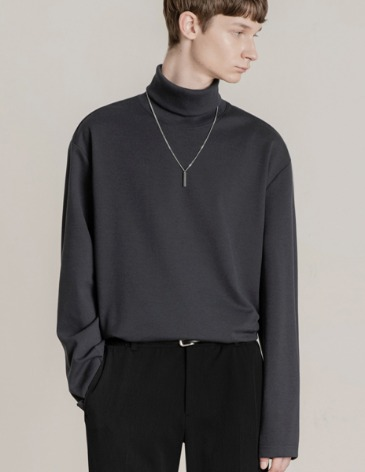 19F/W TURTLE VENT LAYERED T-SHIRT [CHARCOAL]