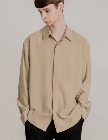 HIDDEN LOOSE-FIT TENCEL SHIRTS [BEIGE]