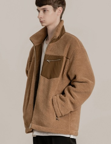 SHEARLING BOA FLEECE ZIP-UP JACKET [BROWN]