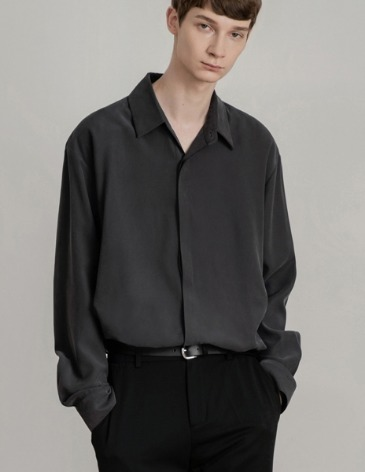 HIDDEN LOOSE-FIT TENCEL SHIRTS [CHARCOAL]