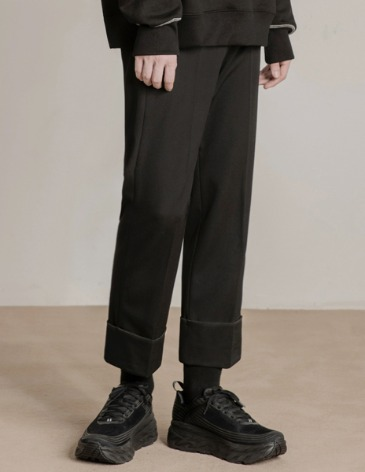 TURNUP BANDING SLACKS [BLACK]