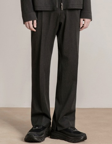 MODERNITY WIDE SLIT SLACKS [CHARCOAL]