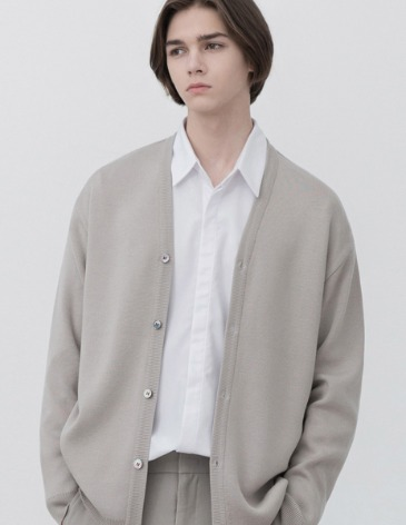 SOF WOOL MINIMAL LOOSE-FIT CARDIGAN [WARM GREY]