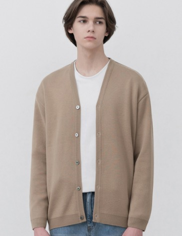 SOF WOOL MINIMAL LOOSE-FIT CARDIGAN [BEIGE]