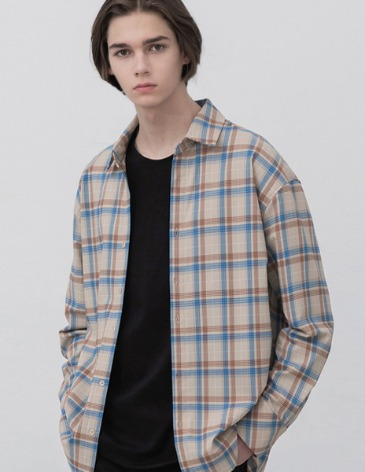 FLARE OVER-FIT CHECK SHIRT [BEIGE]