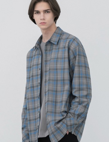FLARE OVER-FIT CHECK SHIRT [GREY]