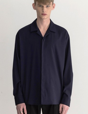 HIDDEN LOOSE-FIT OPEN COLLAR SHIRTS [NAVY]