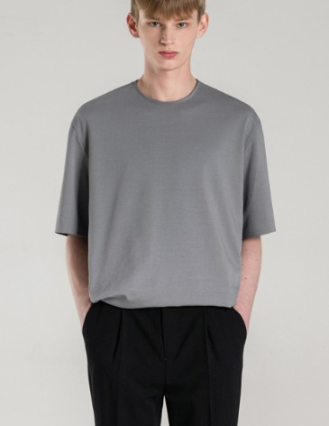 SILKET PIMA COTTON BONDED T-SHIRT [BLUEGREY]