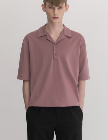 OPEN COLLAR T-SHIRT [INDI PINK]