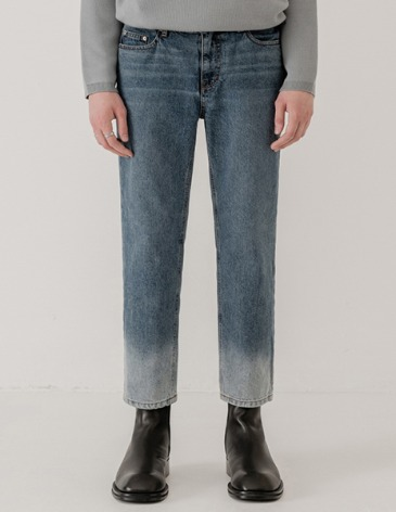 GRADATION STRAIGHT DENIM PANTS [ASHED MIDDLE BLUE]