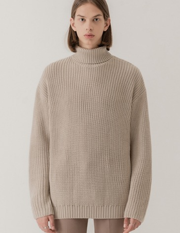 OVER-FIT TEXTURED TURTLE NECK KNIT [OATMEAL]