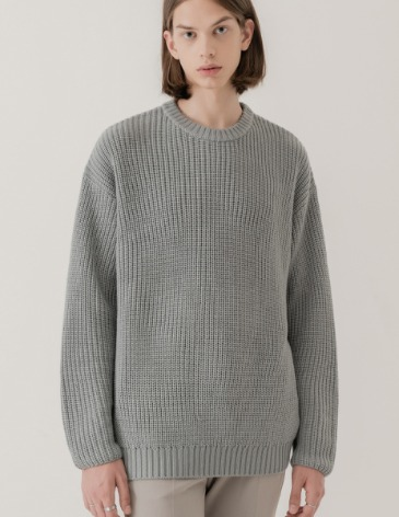 OVER-FIT TEXTURED ROUND KNIT [BLUEGREY]