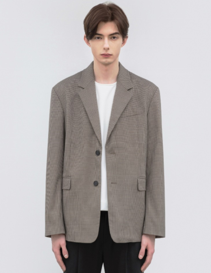 OVERSIZED GUN CLUB CHECK BLAZER [BEIGE]