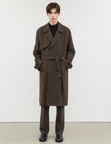 MODERN CHECK OVERSIZED TRENCH COAT