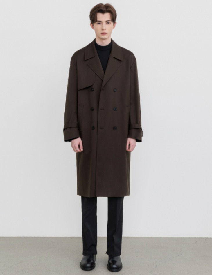 OVERSIZED TRENCH COAT [DARK BROWN]