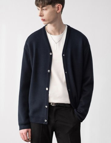 PREMIER EDITION WOOL CASH CARDIGAN [D.NAVY]
