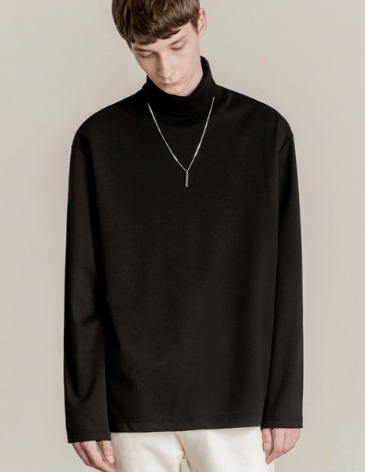 19F/W TURTLE VENT LAYERED T-SHIRT [BLACK]