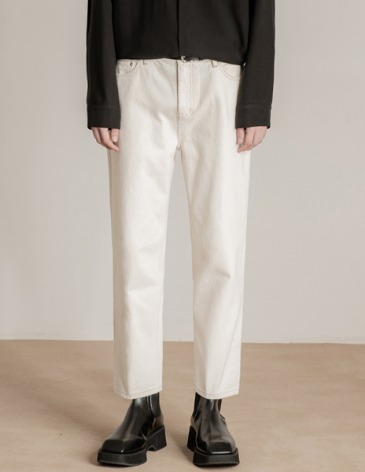 NEW-STRAIGHT DENIM PANTS [CREAM]
