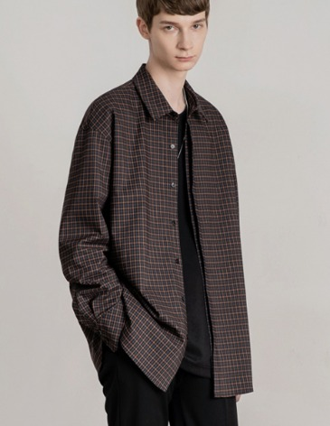 OVERSIZED HIDDEN MINIMAL CHECK SHIRT [BROWN]