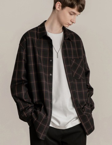 WISE CHECK OVER-FIT POCKET SHIRT [BLACK]